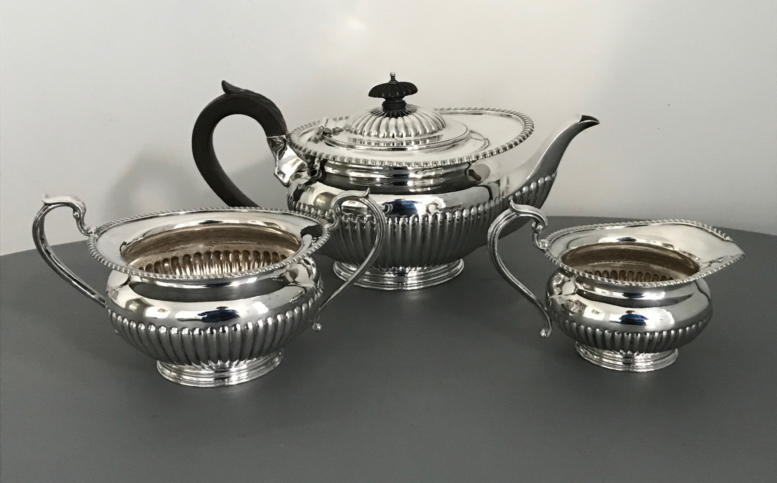 quality three piece solid silver tea service