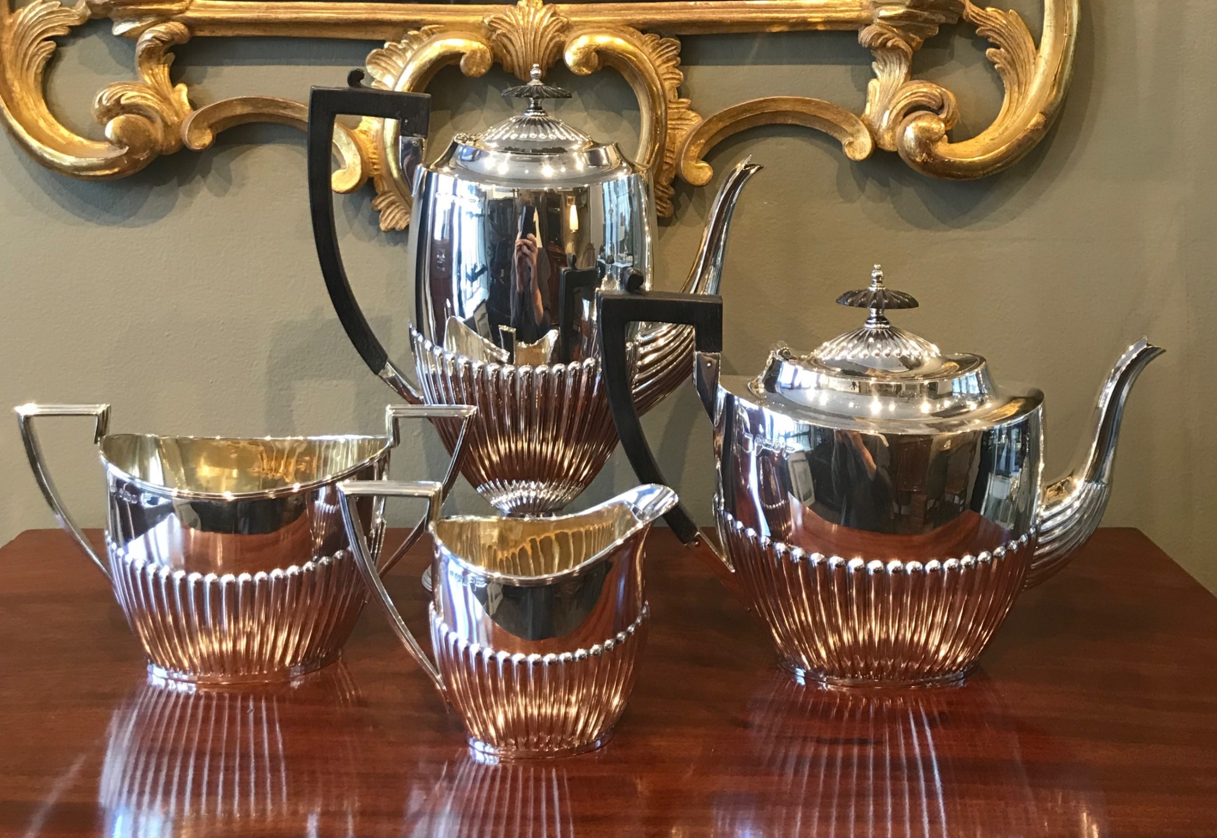 stunning victorian solid silver four piece tea and coffee set service