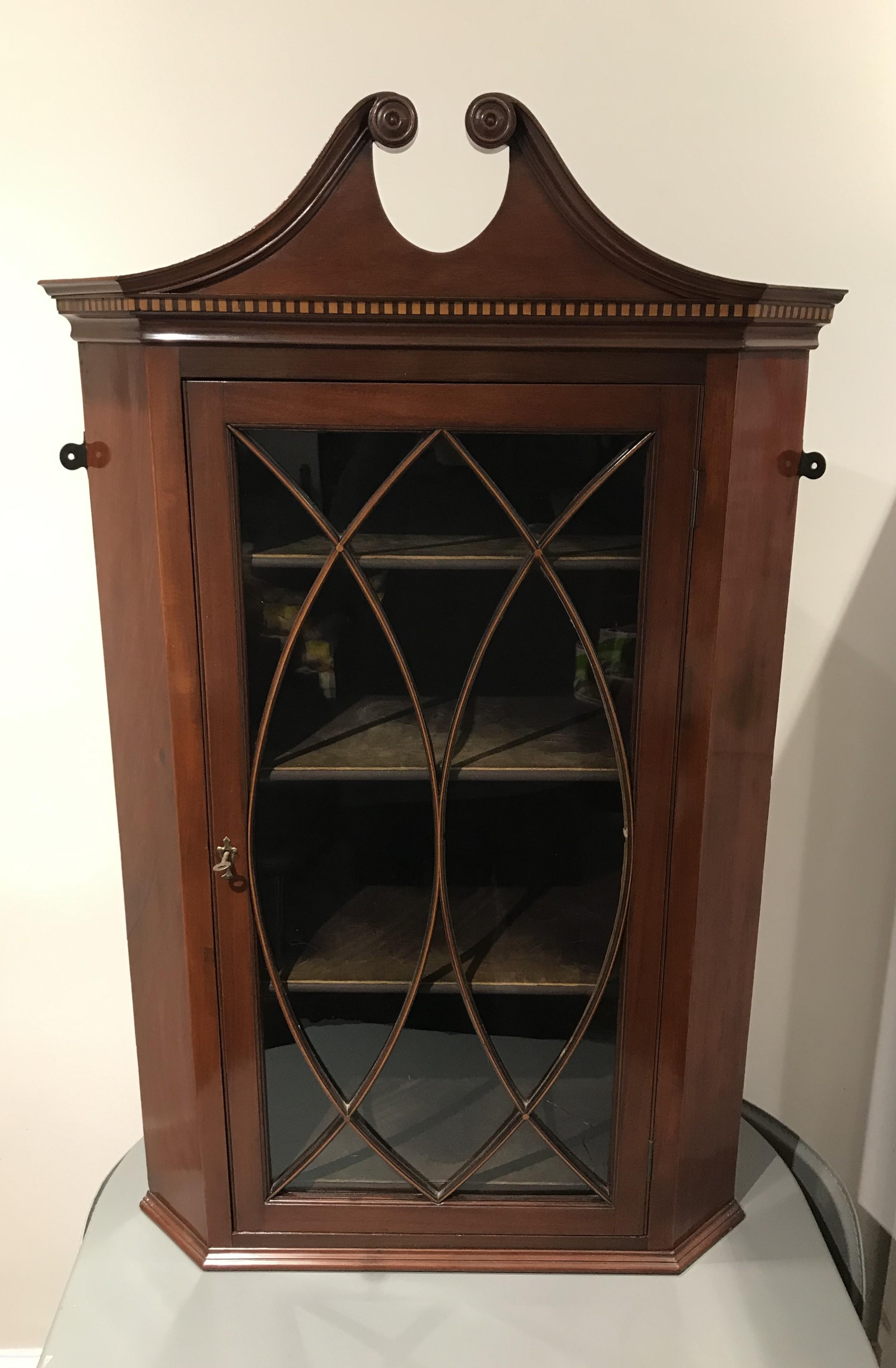 quality mahogany corner cupboard