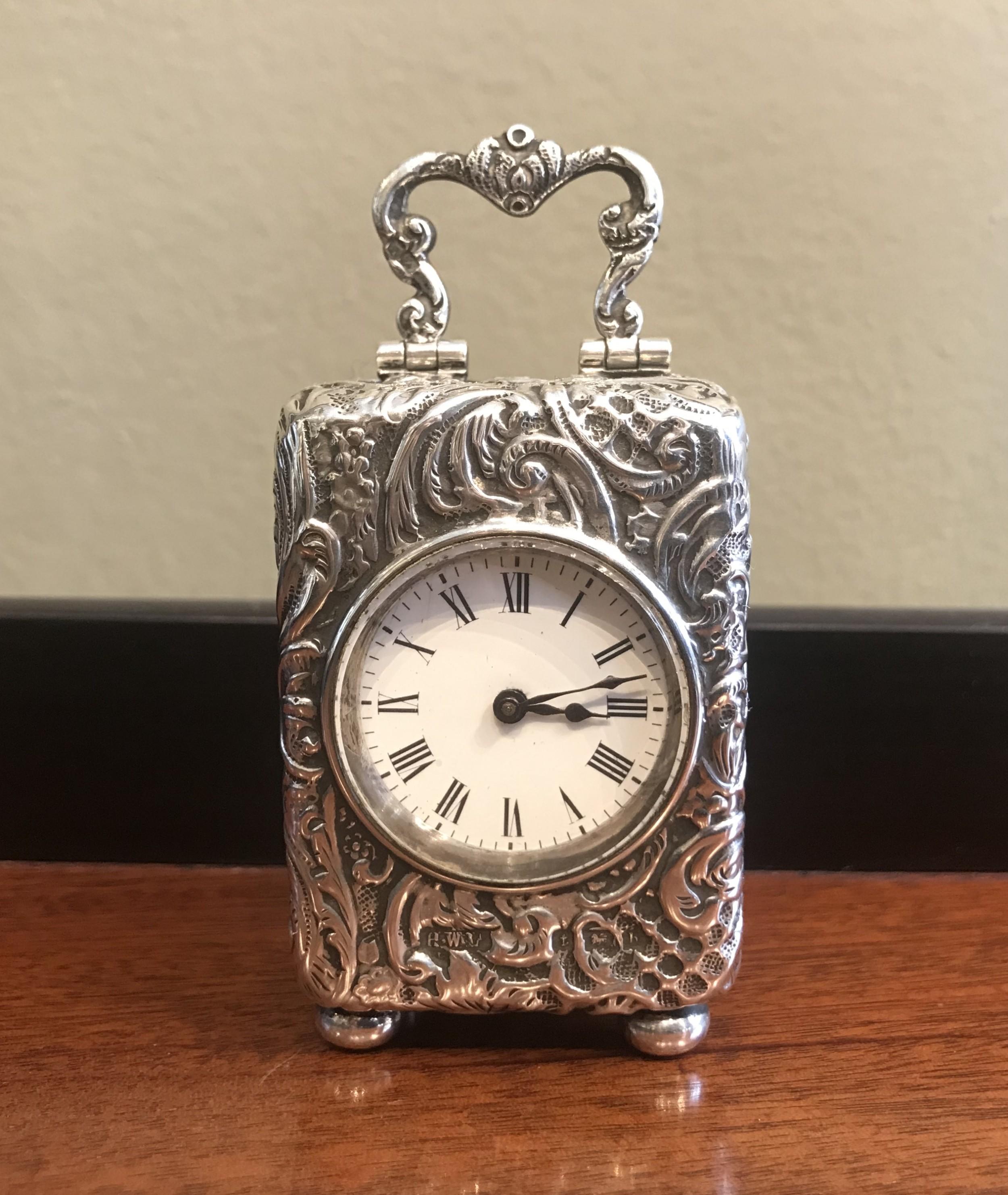 edwardian silver carriage clock 1907