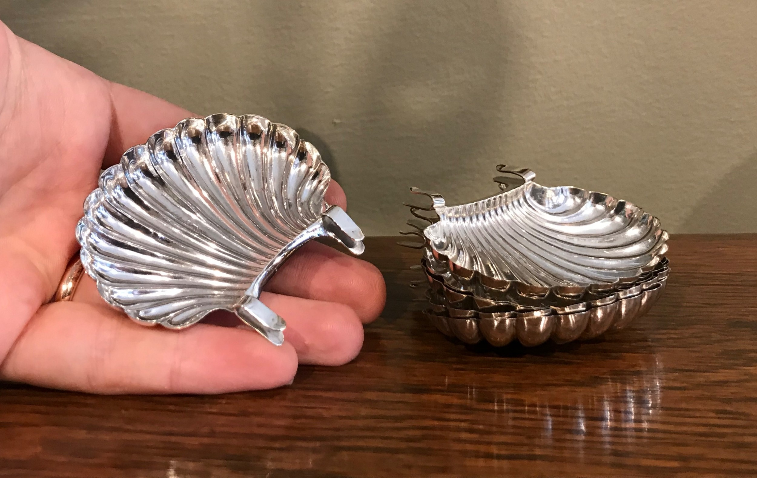 set of six late victorian silver pip trays