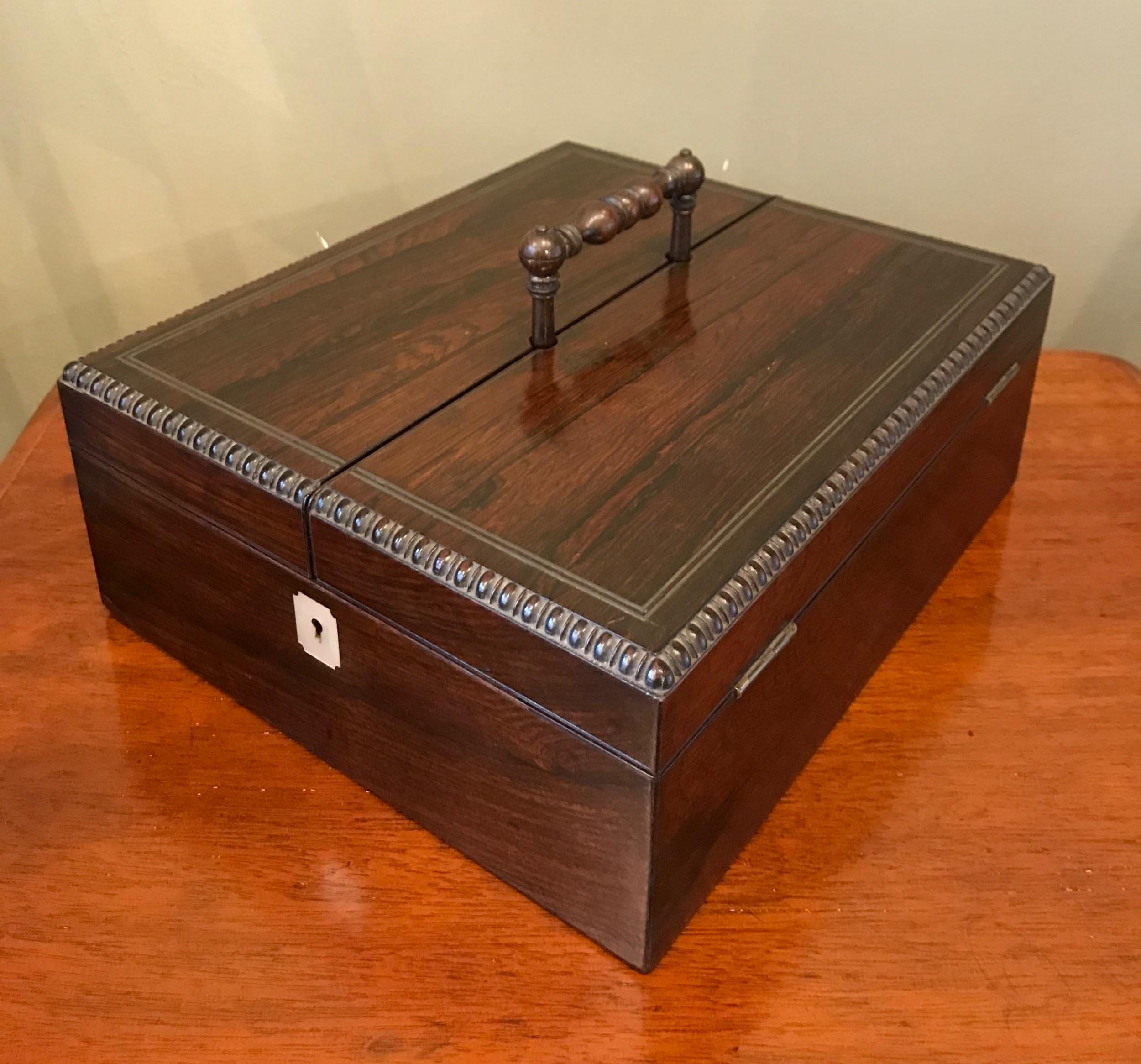 exquisite regency rosewood travelling correspondence box