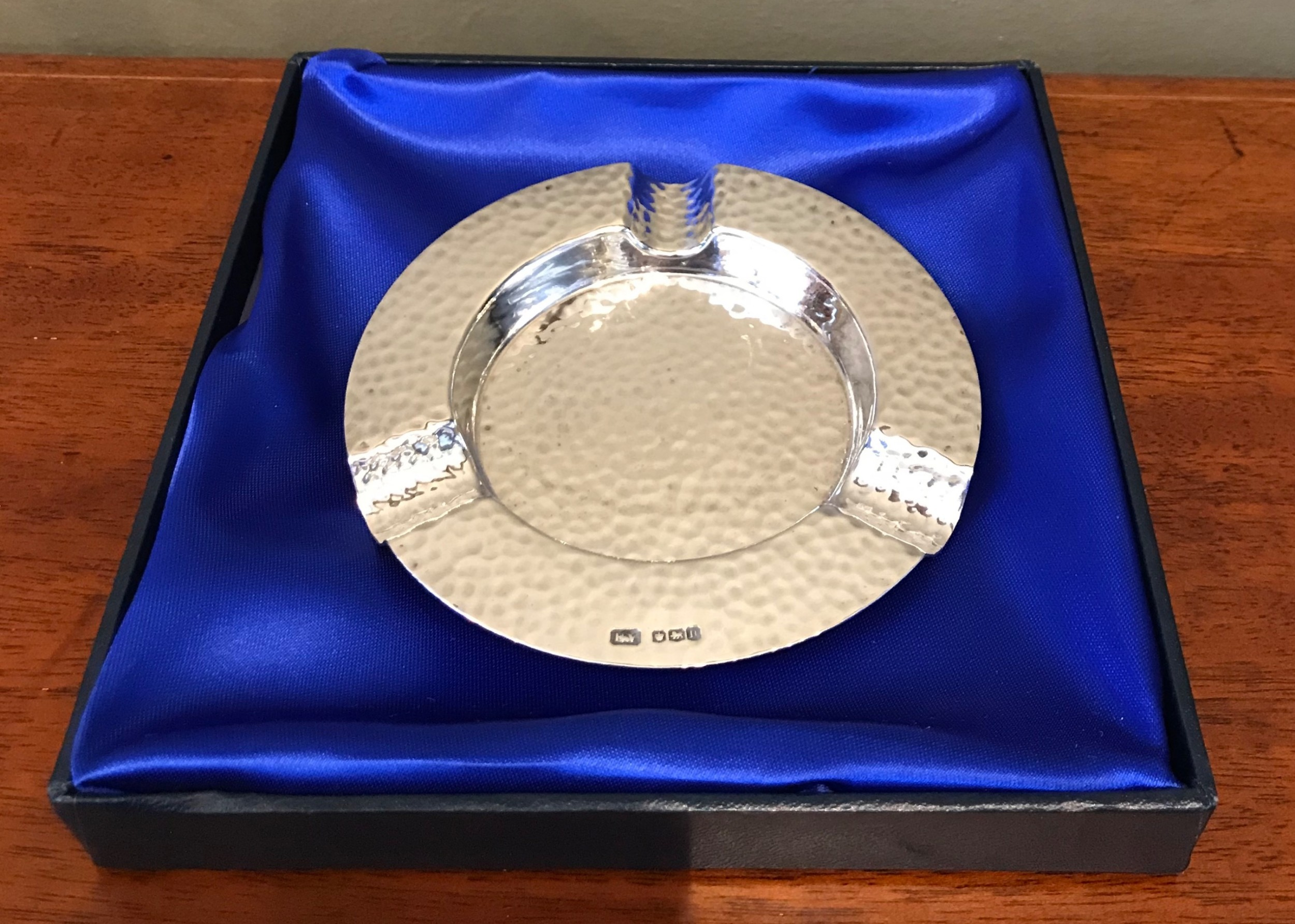 1930 solid silver planished ashtray