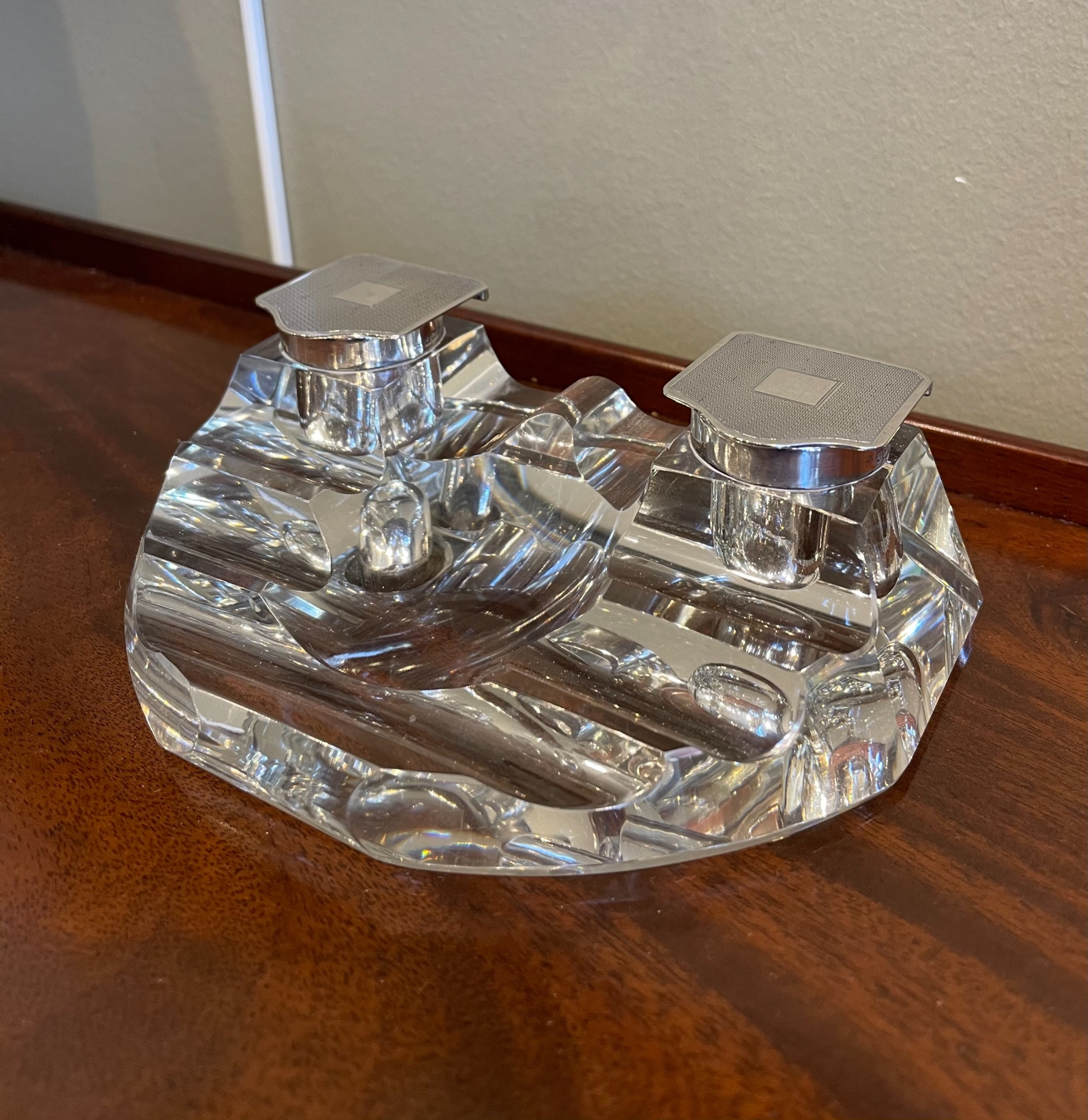 george v silver and glass inkwell inkstand