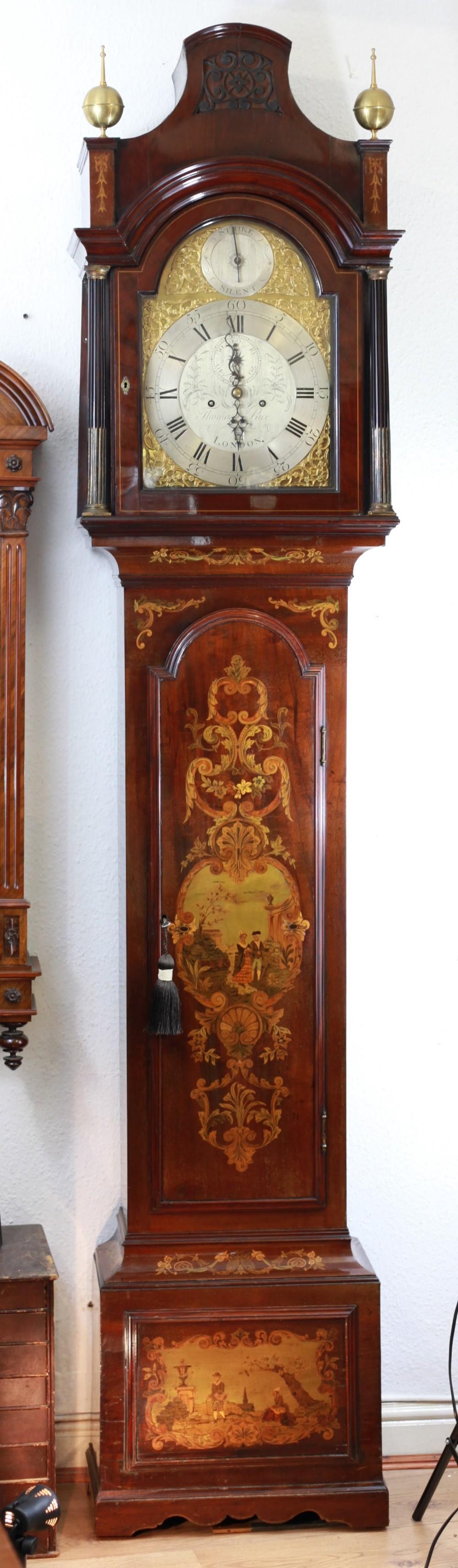 18th century inlaid longcase clock by thomas pace london