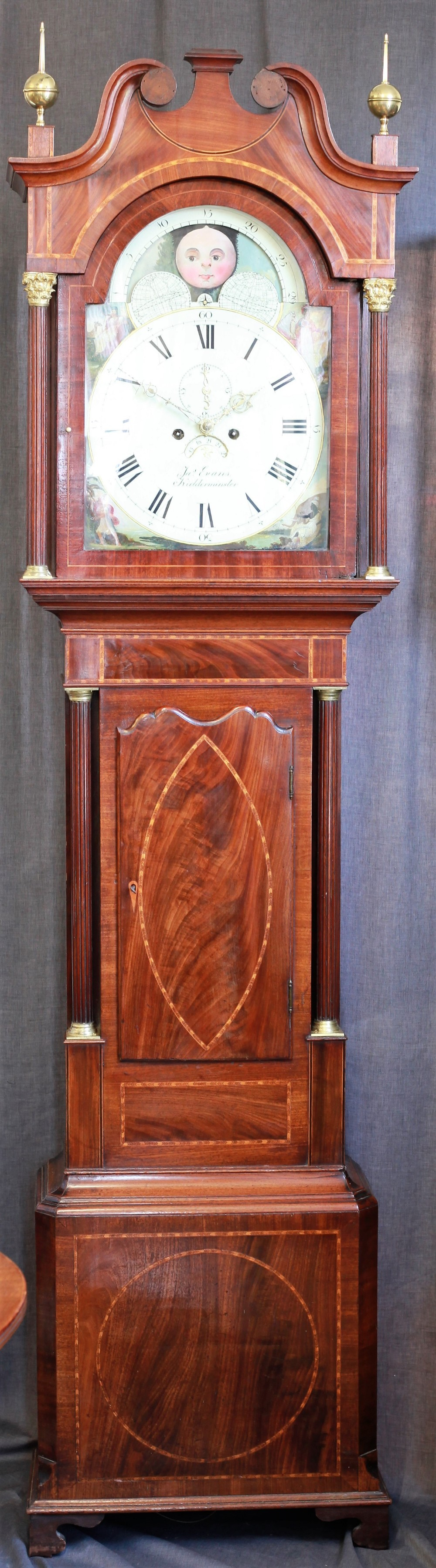 george iii mahogany inlaid chippendale style moonphase longcase clock by j evans c1814 with kempson and felton dial