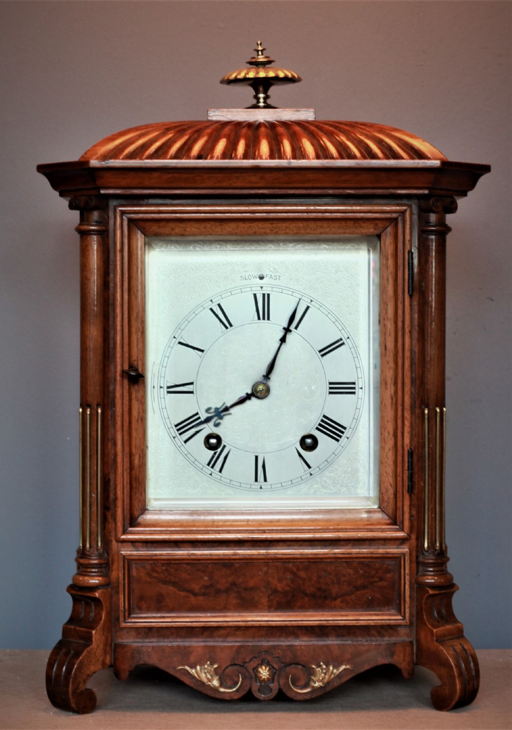 late 19th century lenzkirch bracket clock with engraved dial