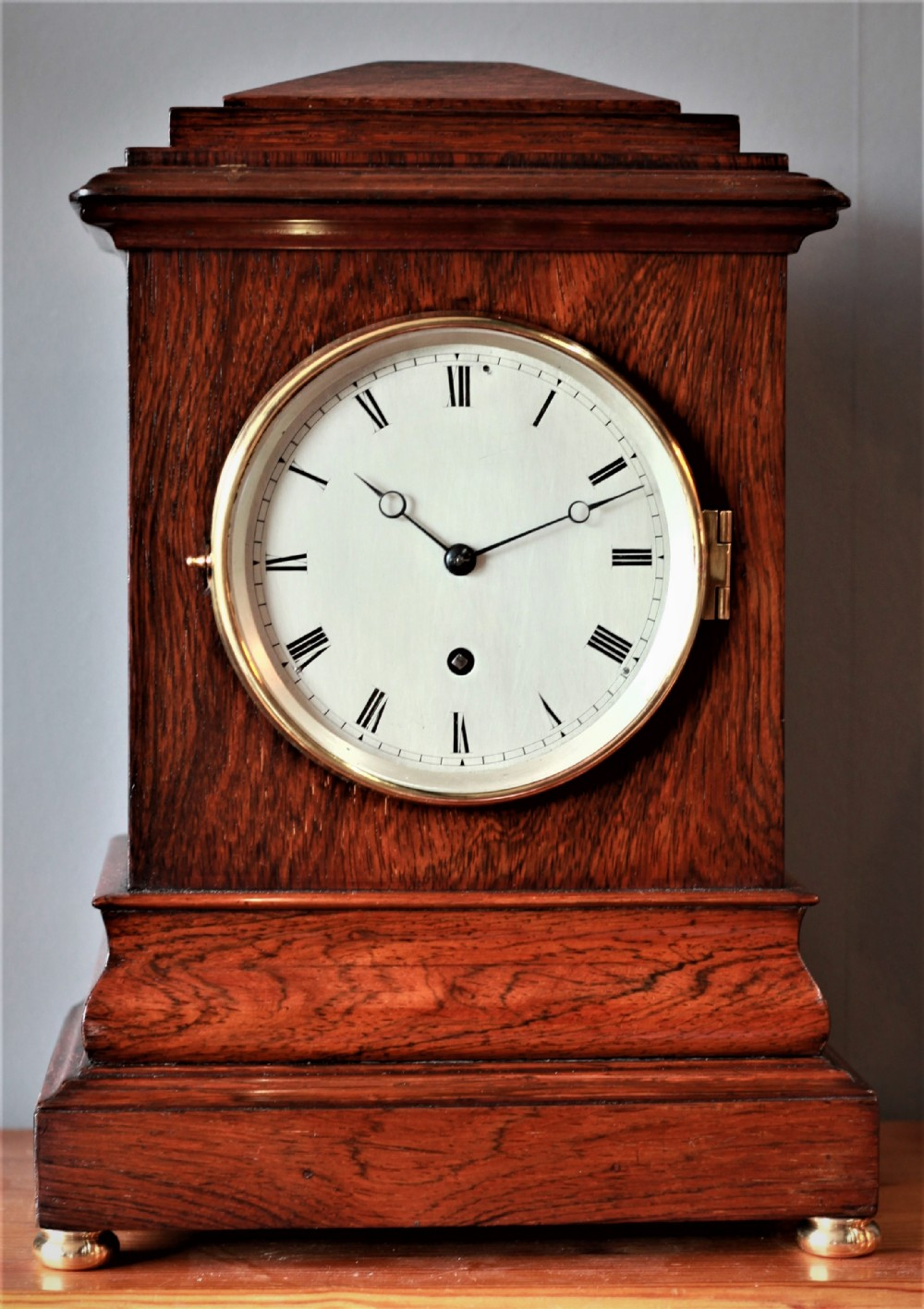 late 19th century rosewood officer mess clock with ogee base