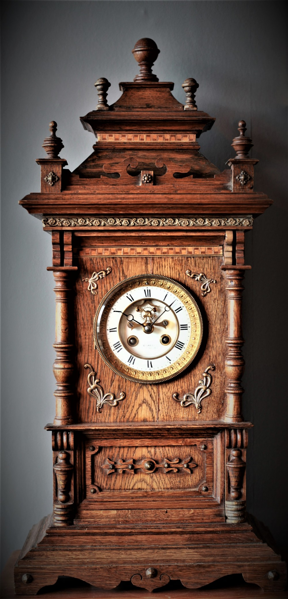 stunning 19th century french mantle clock with visible escapement