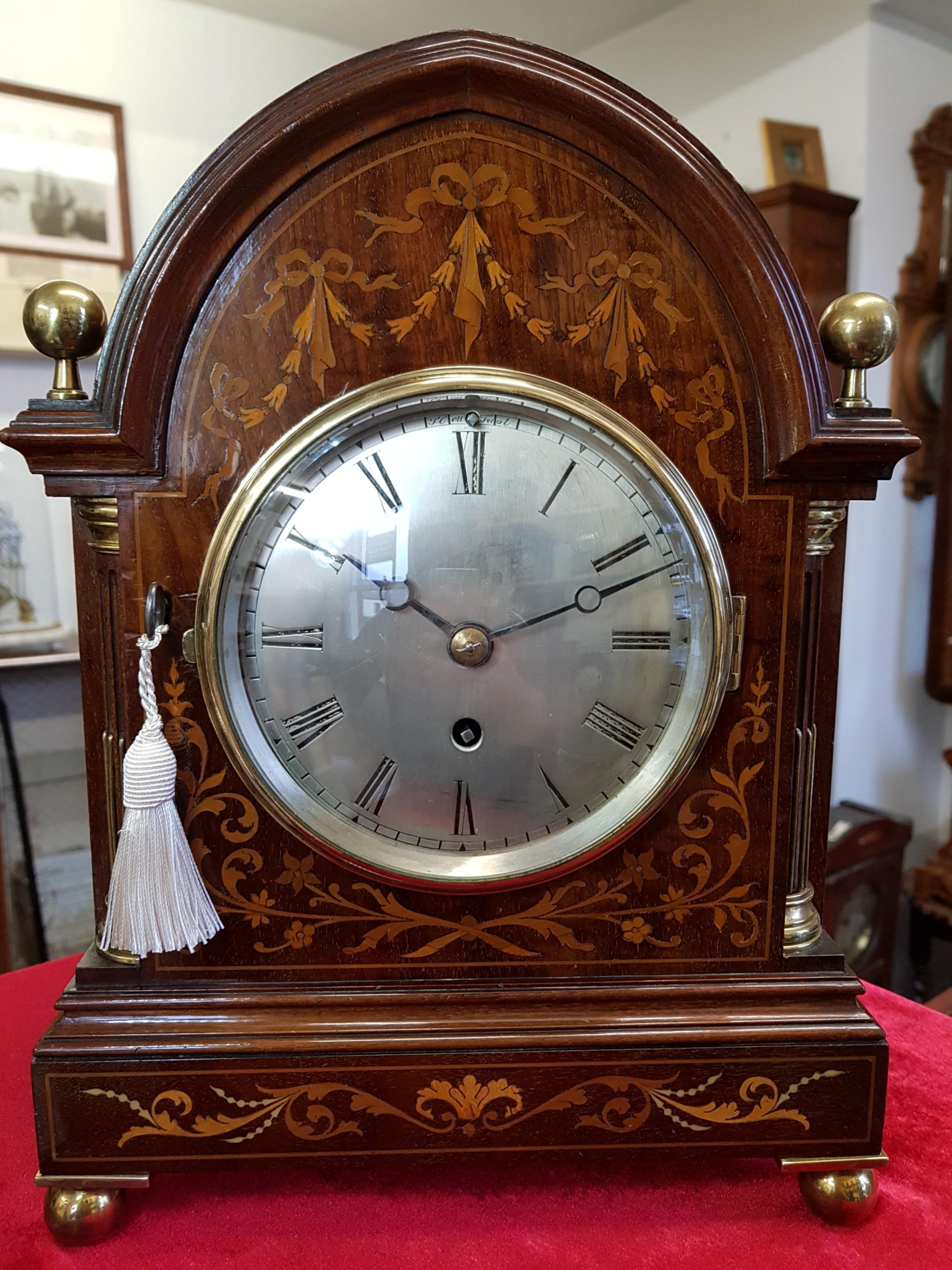 a silent escapement good inlaid bracket clock