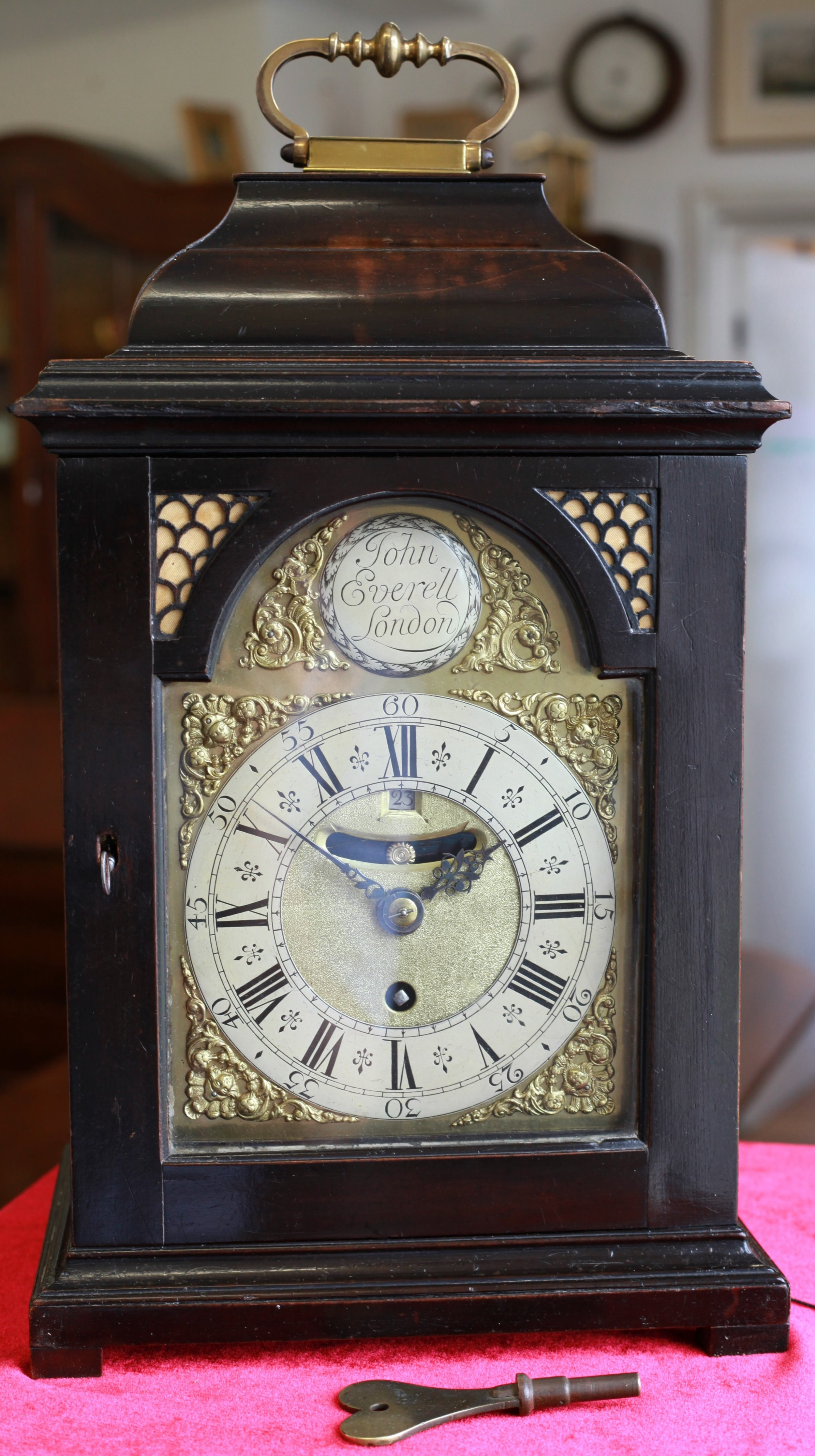 c1745 small ebonised bracket clock with pull quarter repeat by john everell