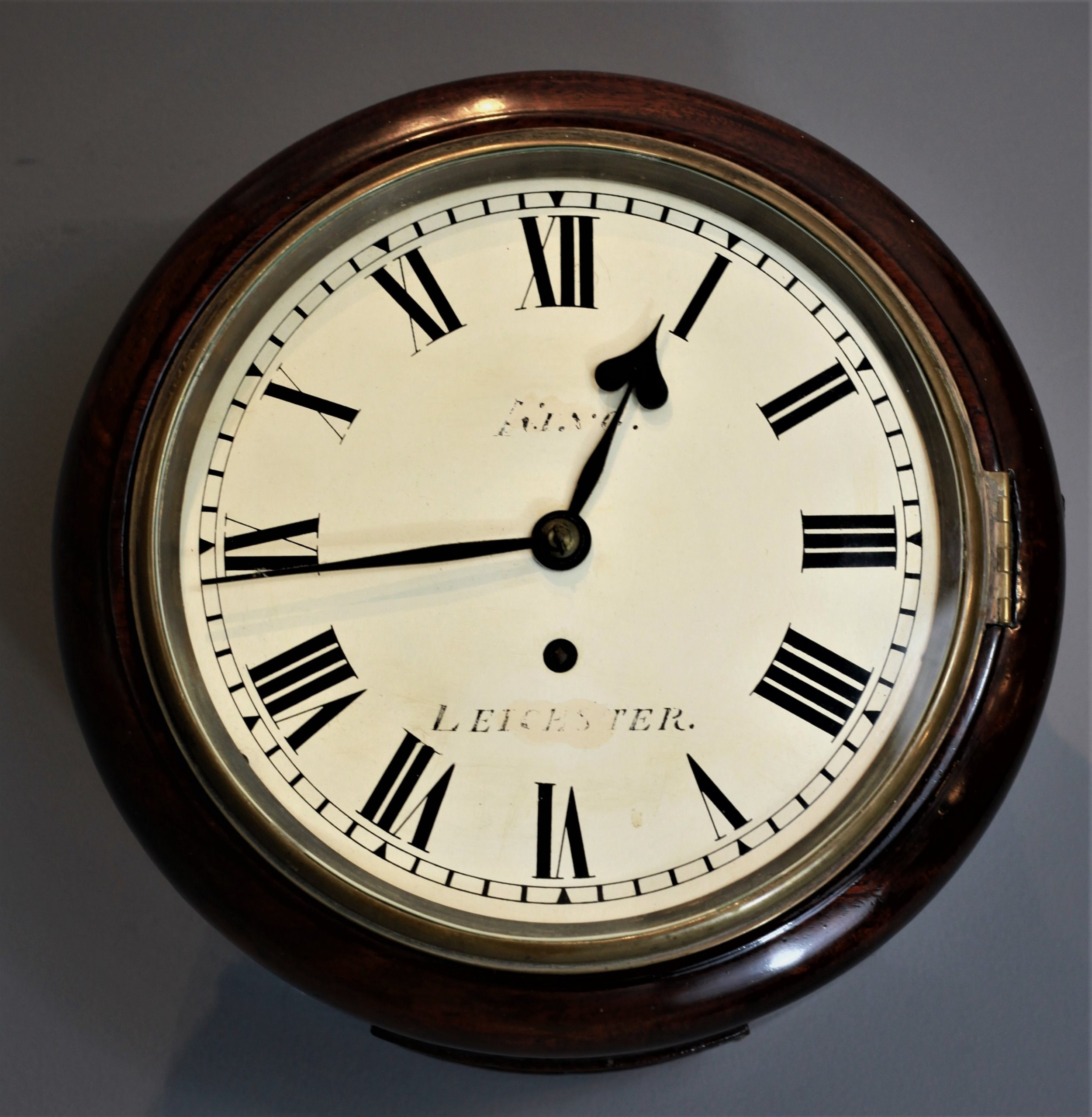 8 inch mahogany dial clock by king of leicester