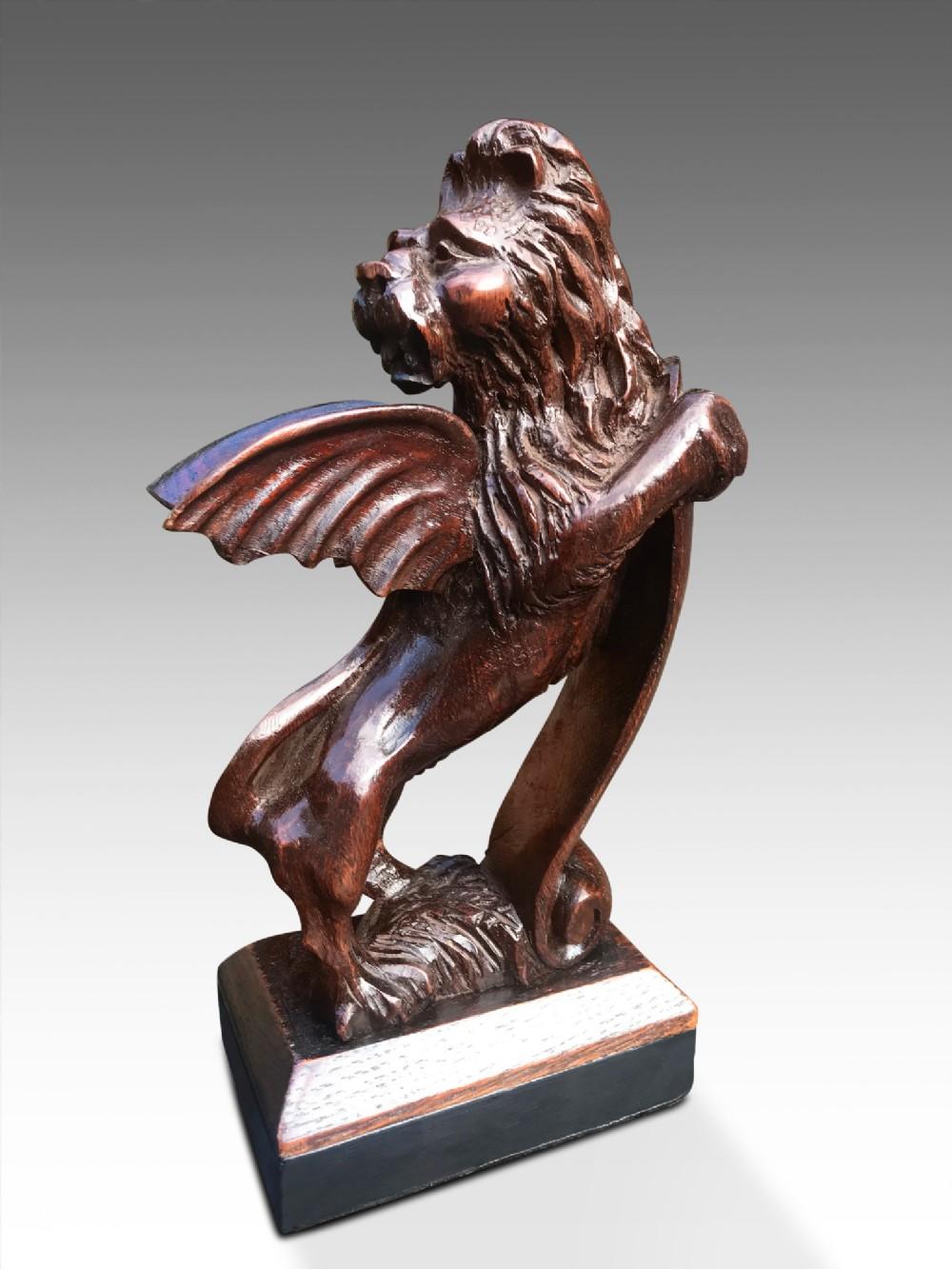 a handsome 18thc oak heraldic winged lion