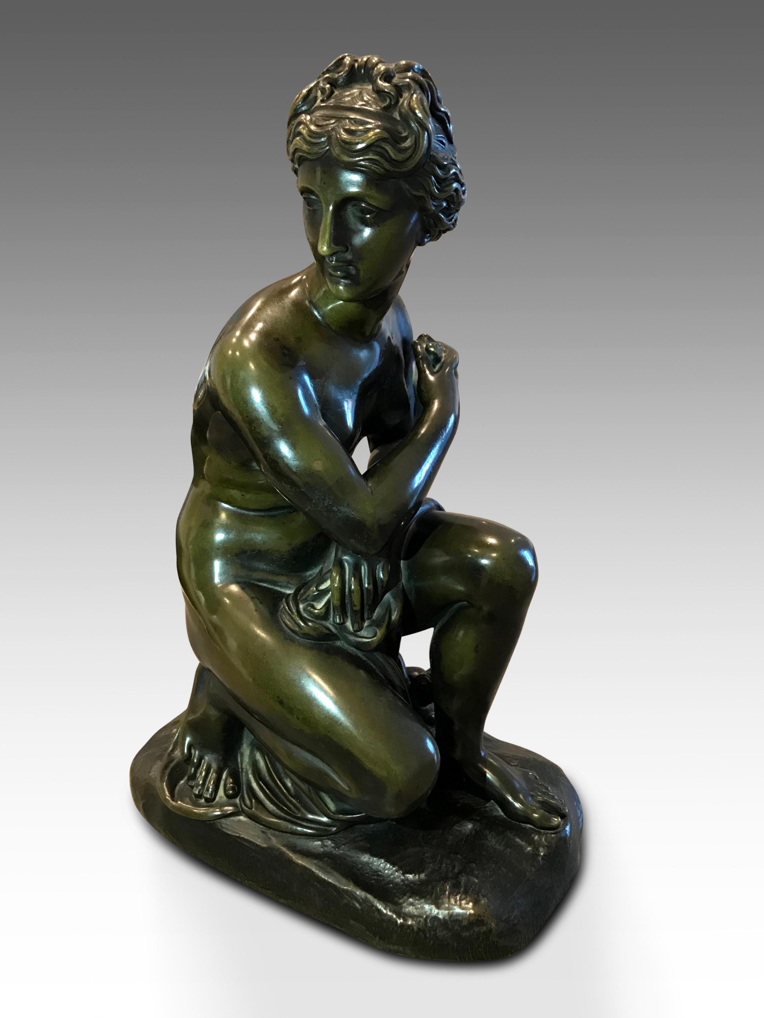 a rare victorian example of kneeling venus in bronze