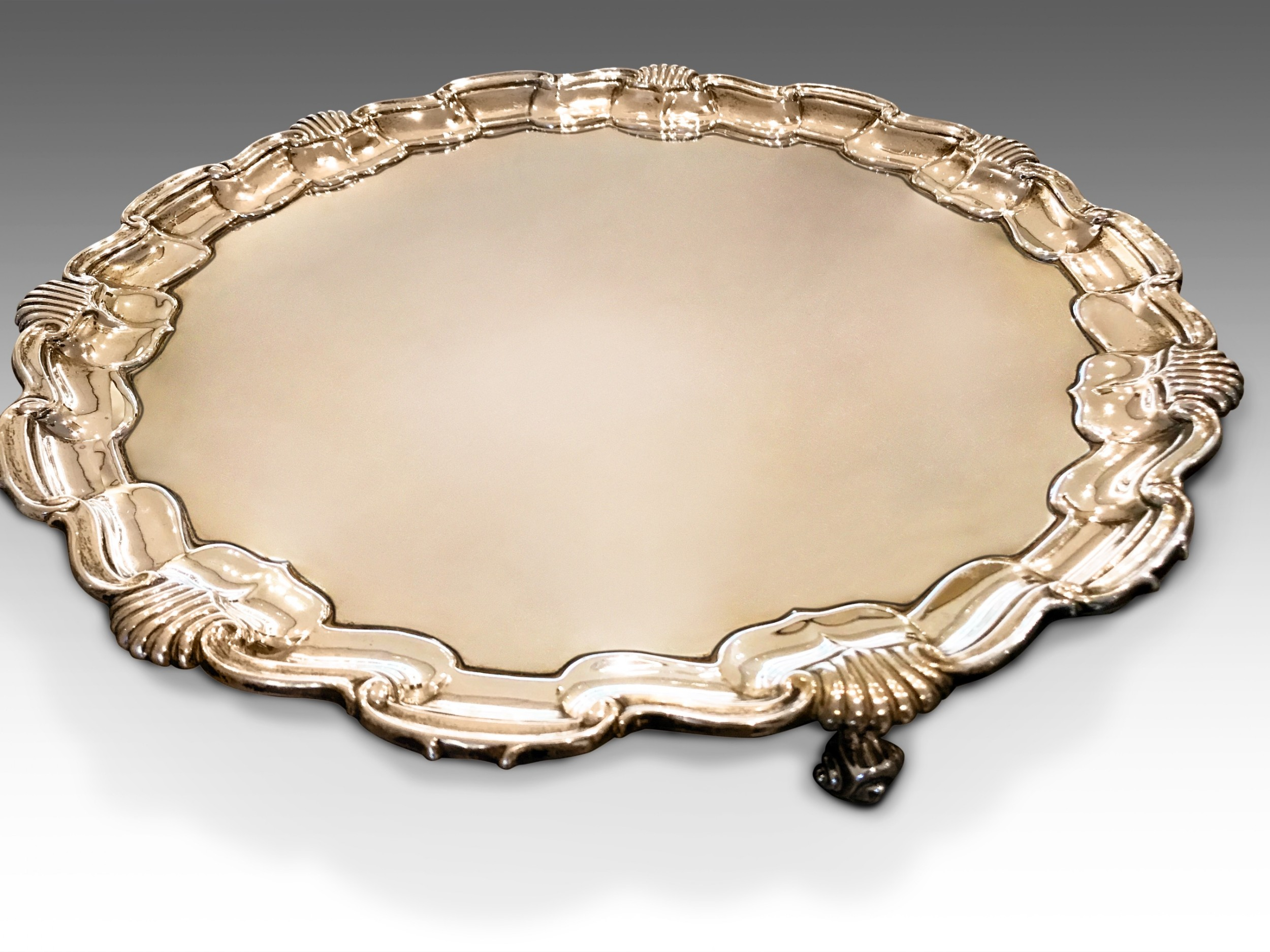 an attractive victorian solid silver serving tray