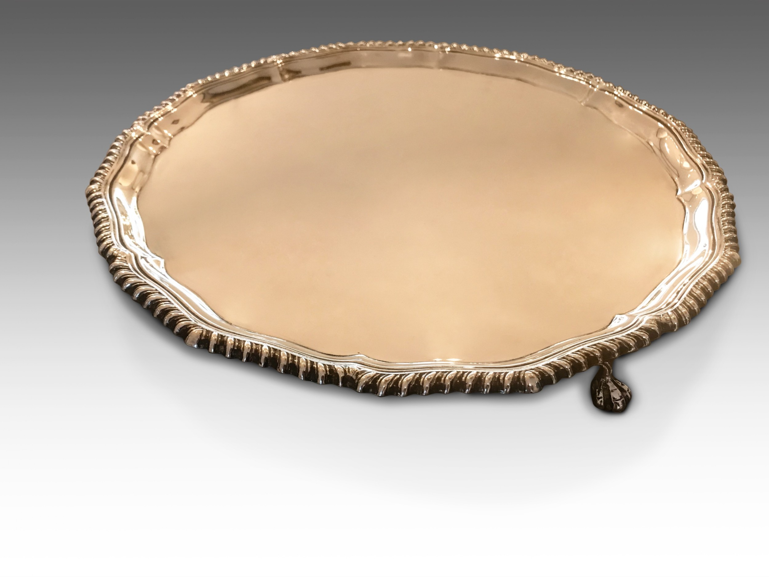 a solid silver tea serving tray