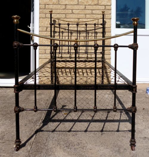 Victorian Cast Iron Beds : Victorian single cast iron and brass bed