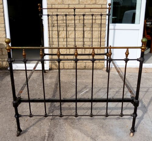 Victorian Cast Iron Beds : Victorian double cast iron and brass bed