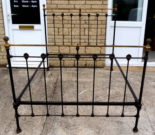 Victorian Cast Iron Beds : Victorian cast iron brass double bed