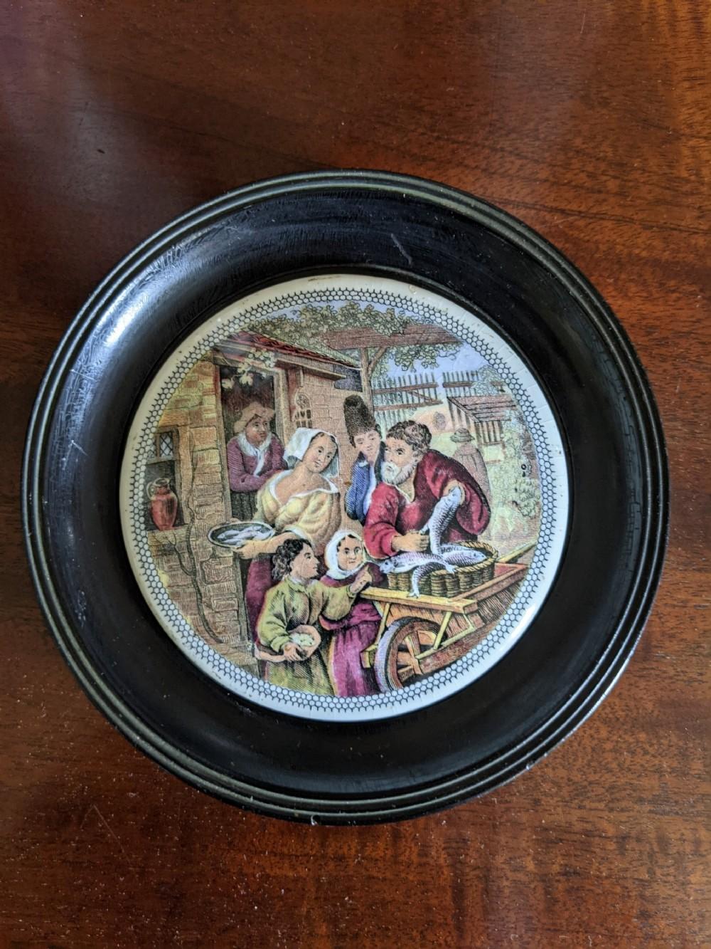 victorian prattware pot lid