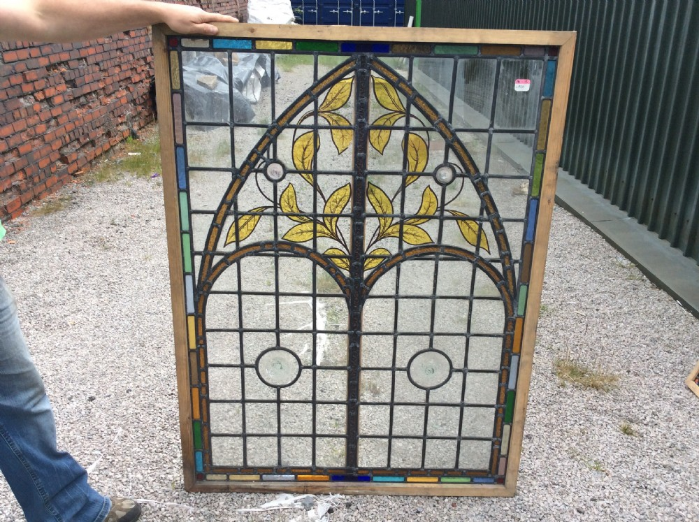 Large decorative leaded and painted glass window for Decorative stained glass windows