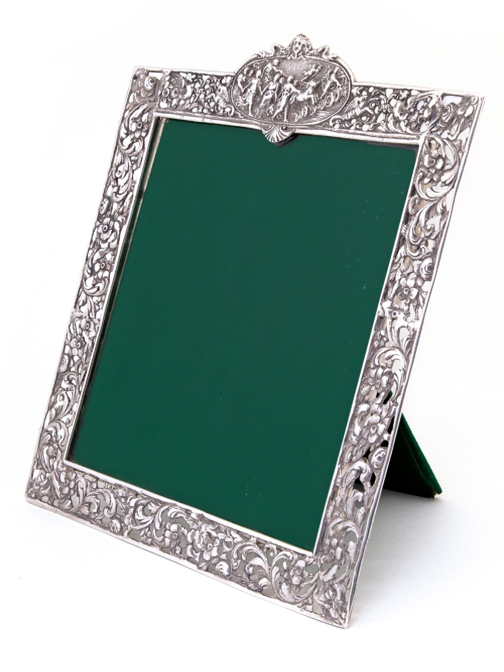 antique square silver photo picture frame with a cartouche depicting females and horses