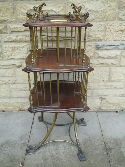 victorian mahogany and brass revolving bookcase