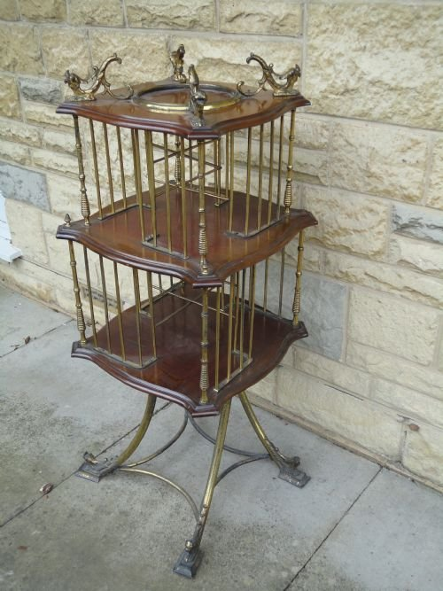 victorian mahogany and brass revolving bookcase - photo angle #2