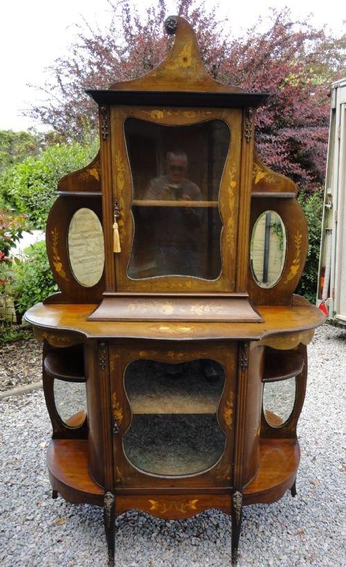19 century mahogany marquetry inlaid displayside cabinet