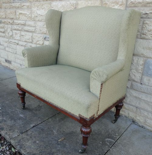 Very Small Victorian Walnut Wing Back Sofa Settee