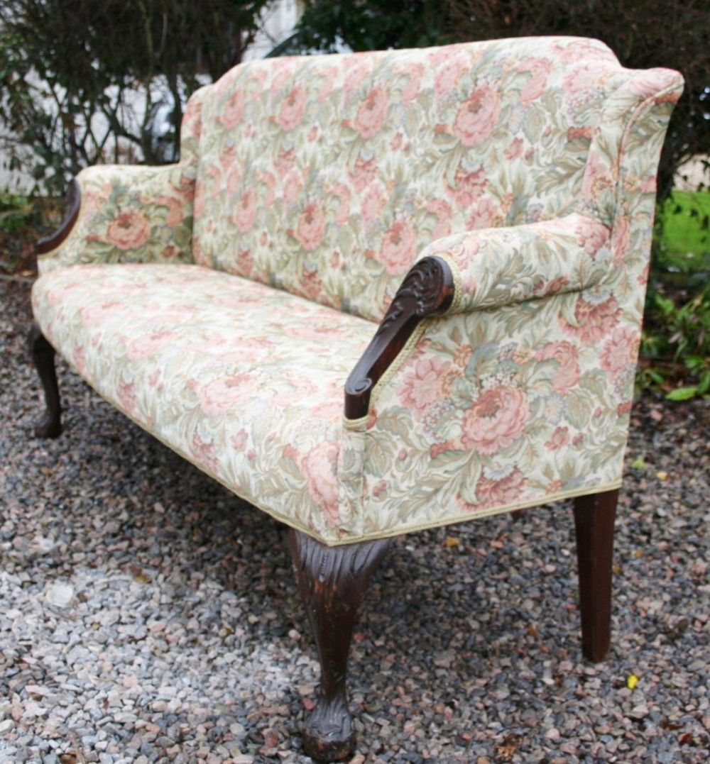 Strange Georgian Style 3 Seat Mahogany Sofa Settee On Carved Machost Co Dining Chair Design Ideas Machostcouk