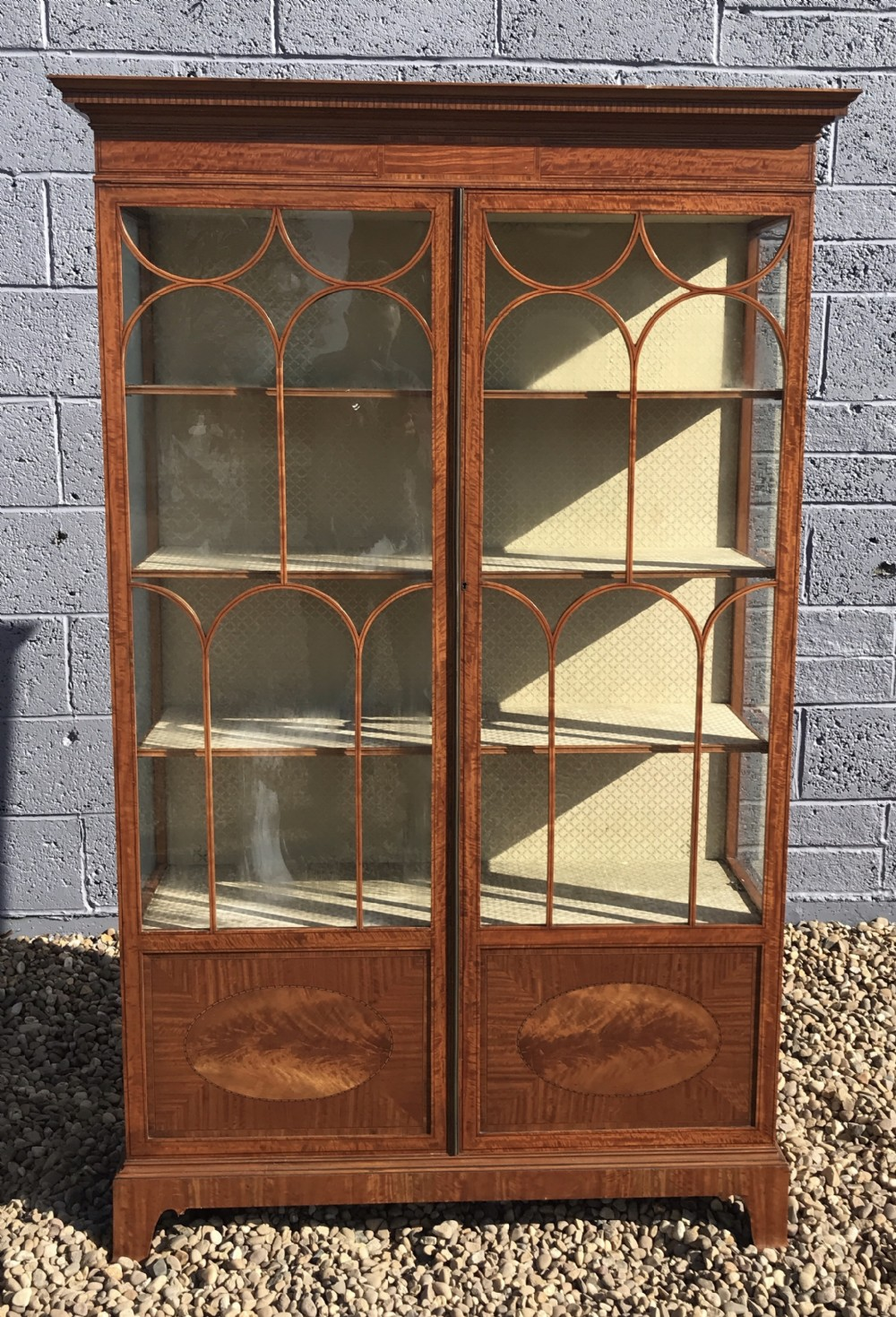 excellent qualitycondition edwardian inlaid satinwood display cabinet