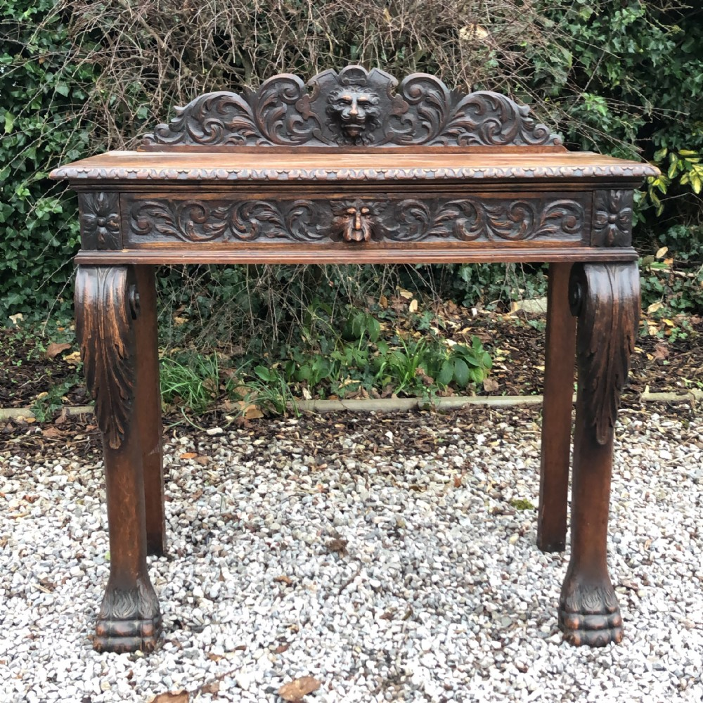 victorian carved oak console table hall table