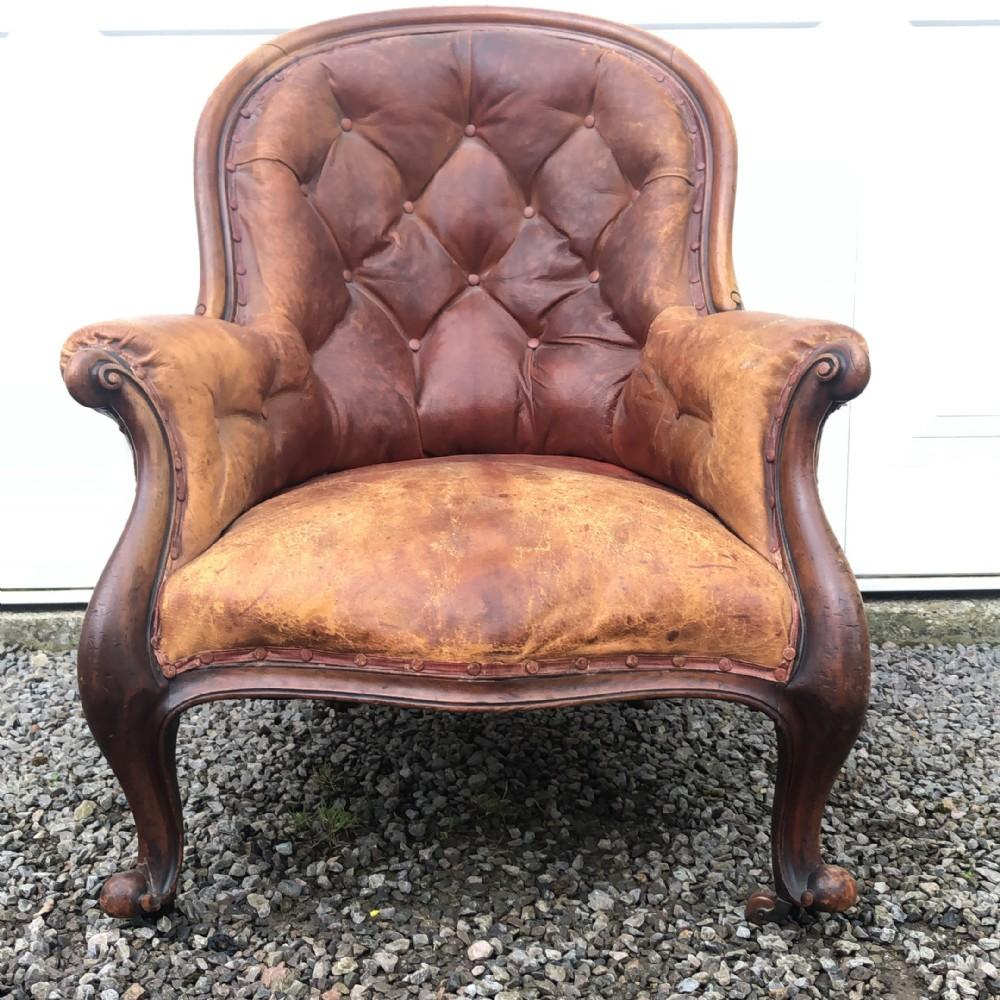 victorian mahogany leather armchairlibrary armchair