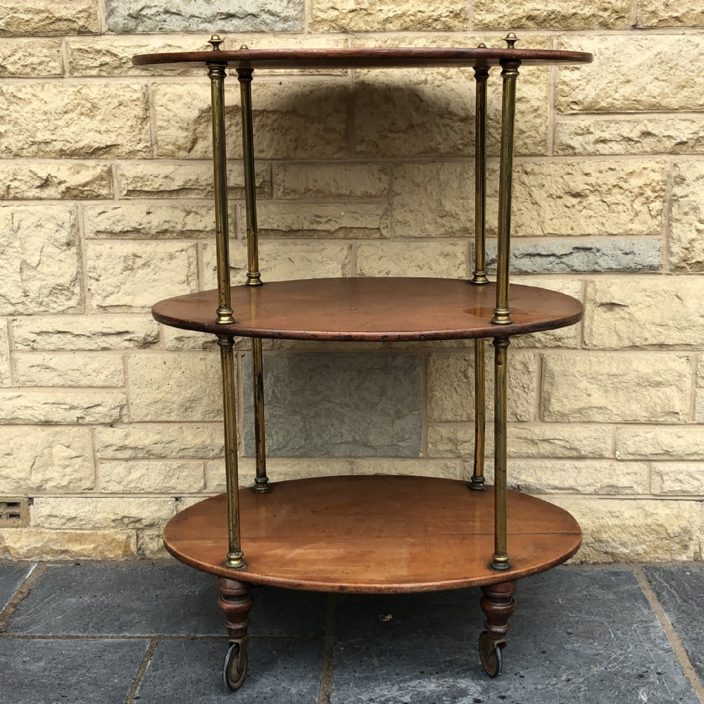 large victorian mahogany and brass oval whatnotshelves