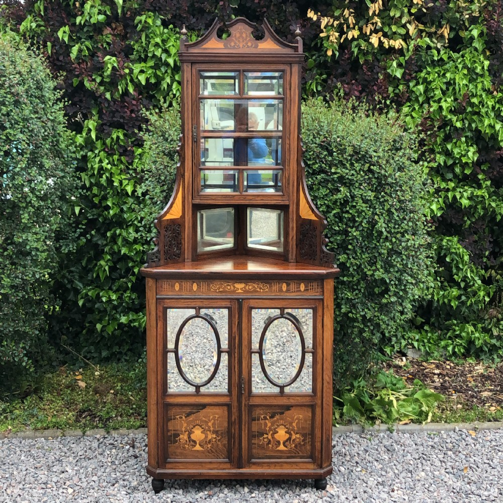 late victorian marquetry inlaid rosewood corner cupboard