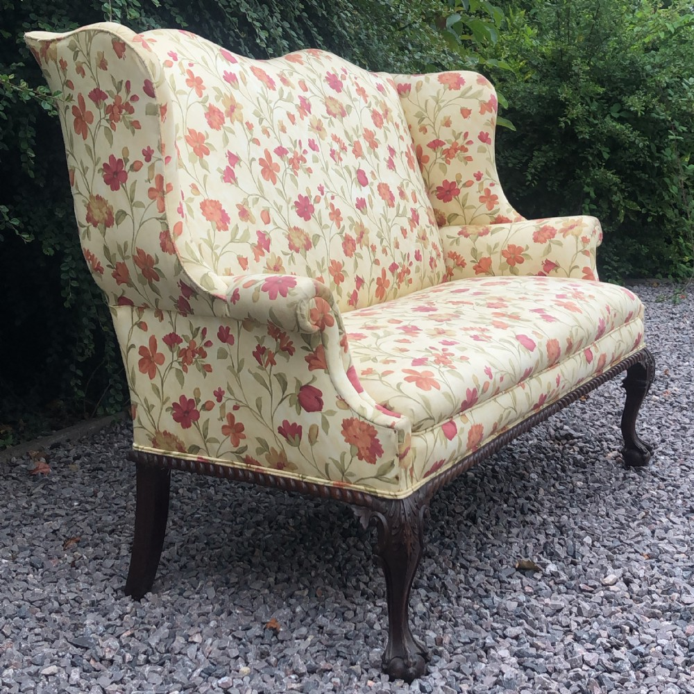 chippendale style 2 seat ball and claw wing back sofasettee