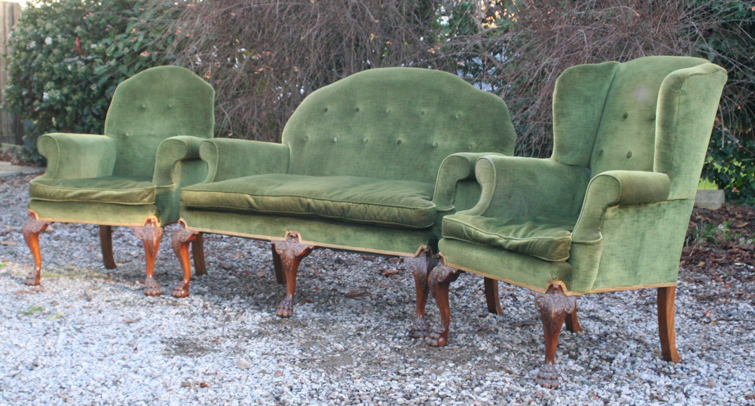 good georgian style walnut upholstered suite circa 1910 comprising 2 armchairs sofasettee