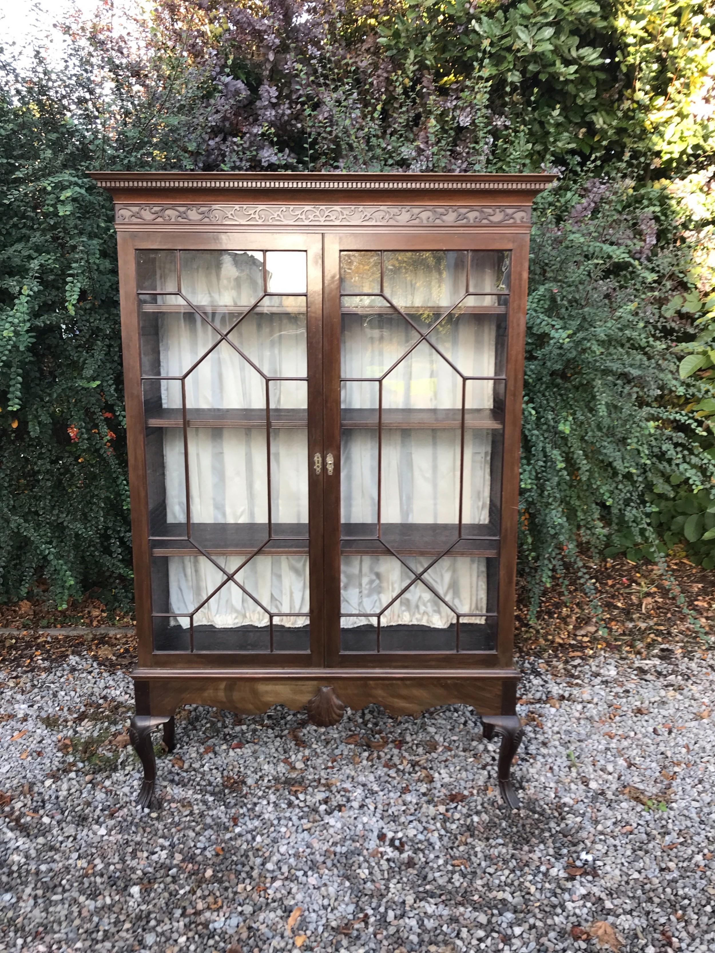 large edwardian mahogany display cabinet