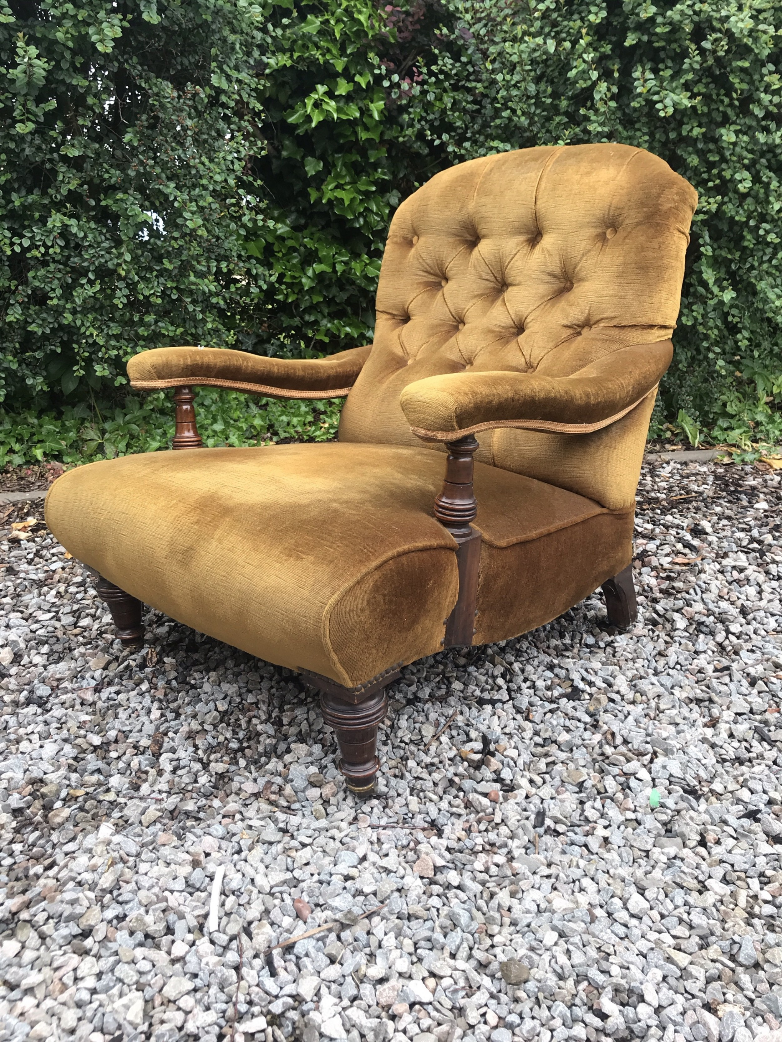 victorian walnut open armchair for reupholstering