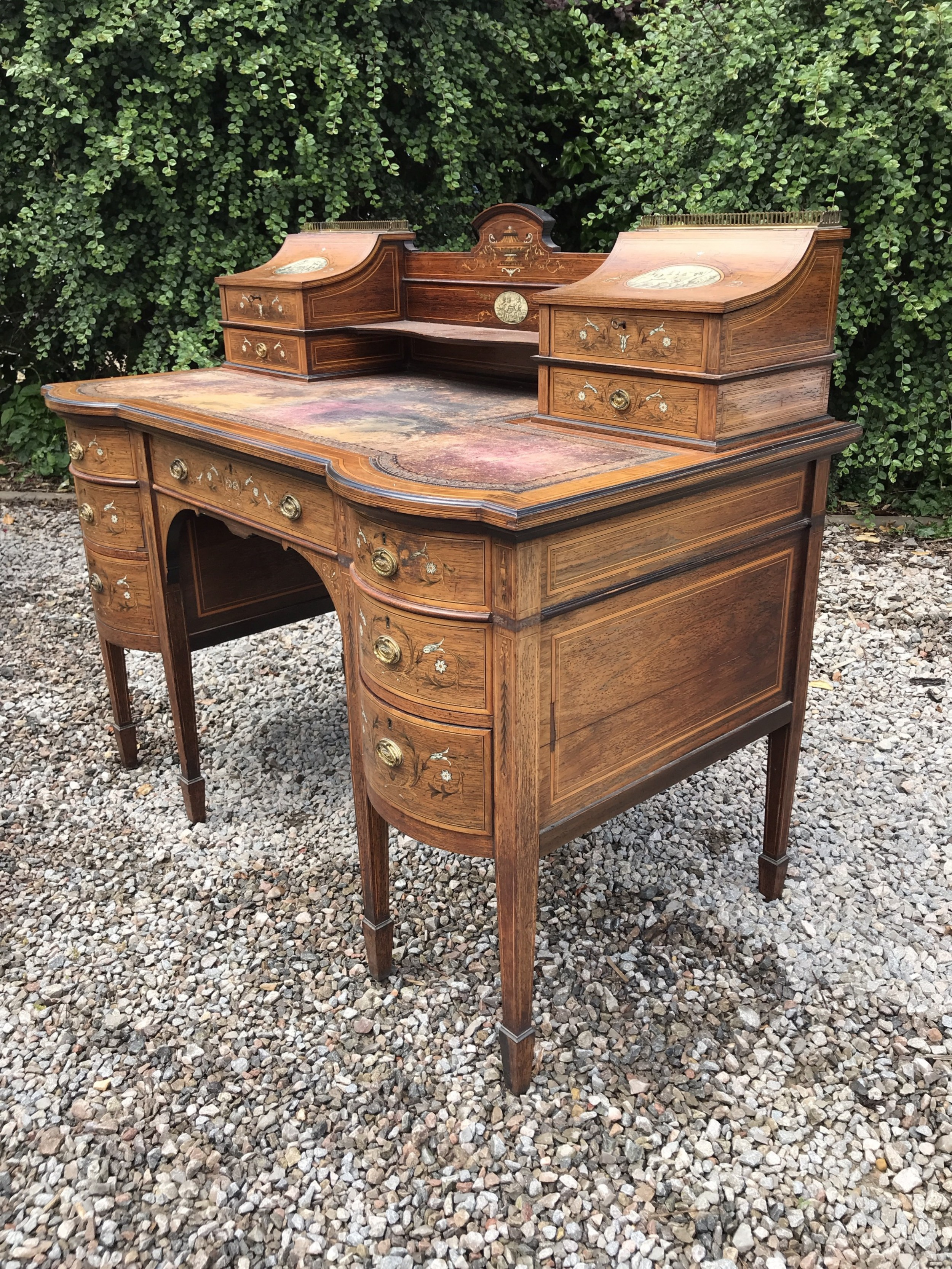 excellent quality edwards roberts marquetry inlaid edwardian rosewood desk