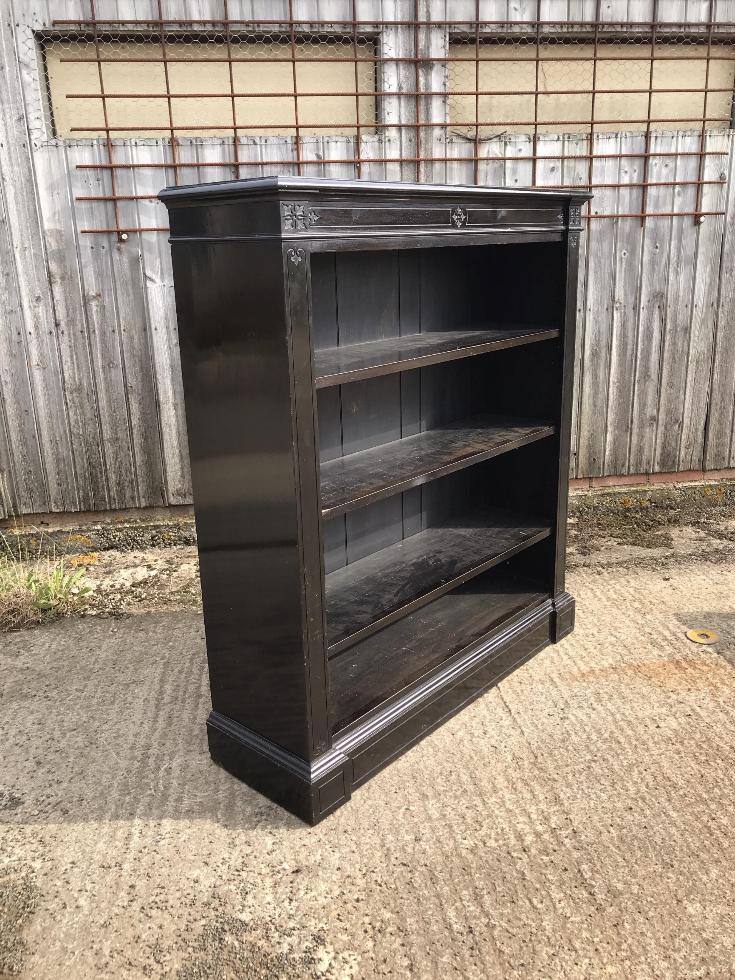 victorian ebonised open bookcase