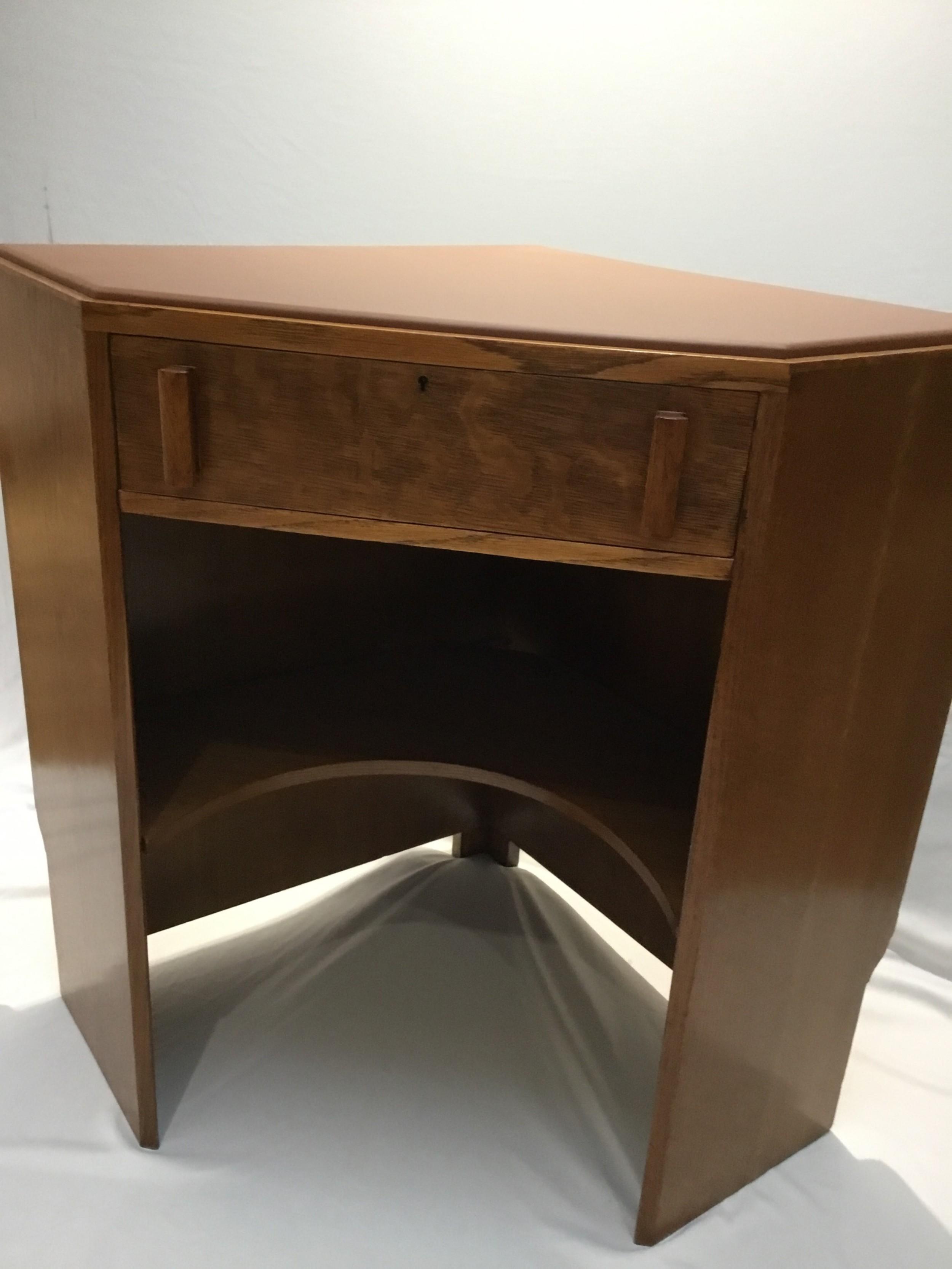 Art Deco Oak Heals Corner Desk, Art Deco Corner Writing Desk