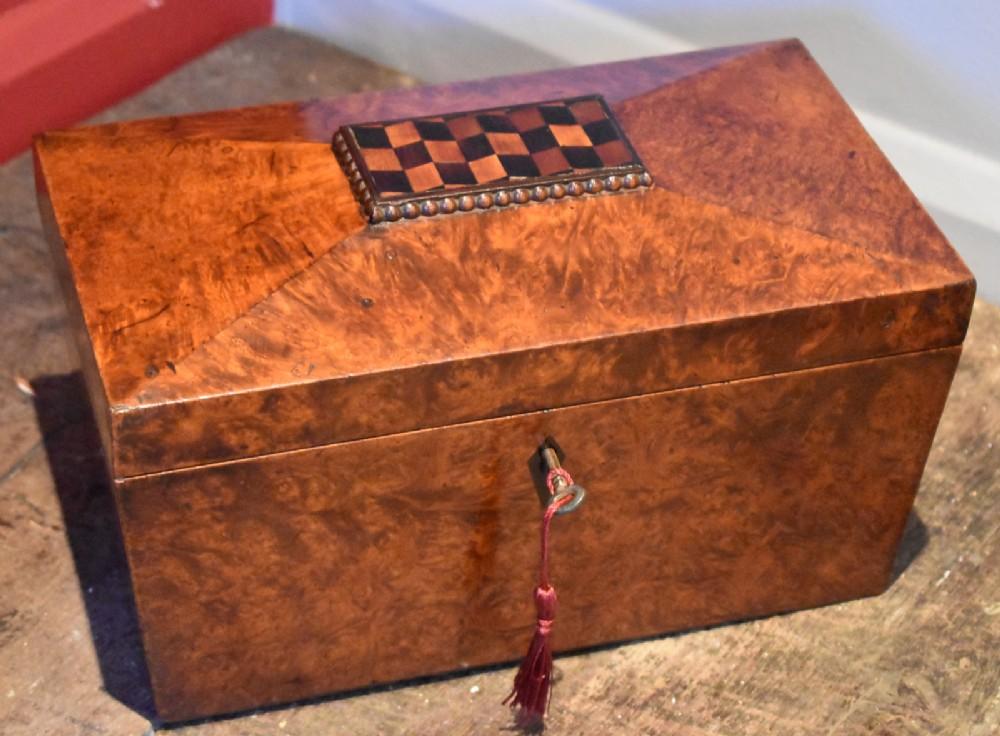 superb regency burr yew tea caddy