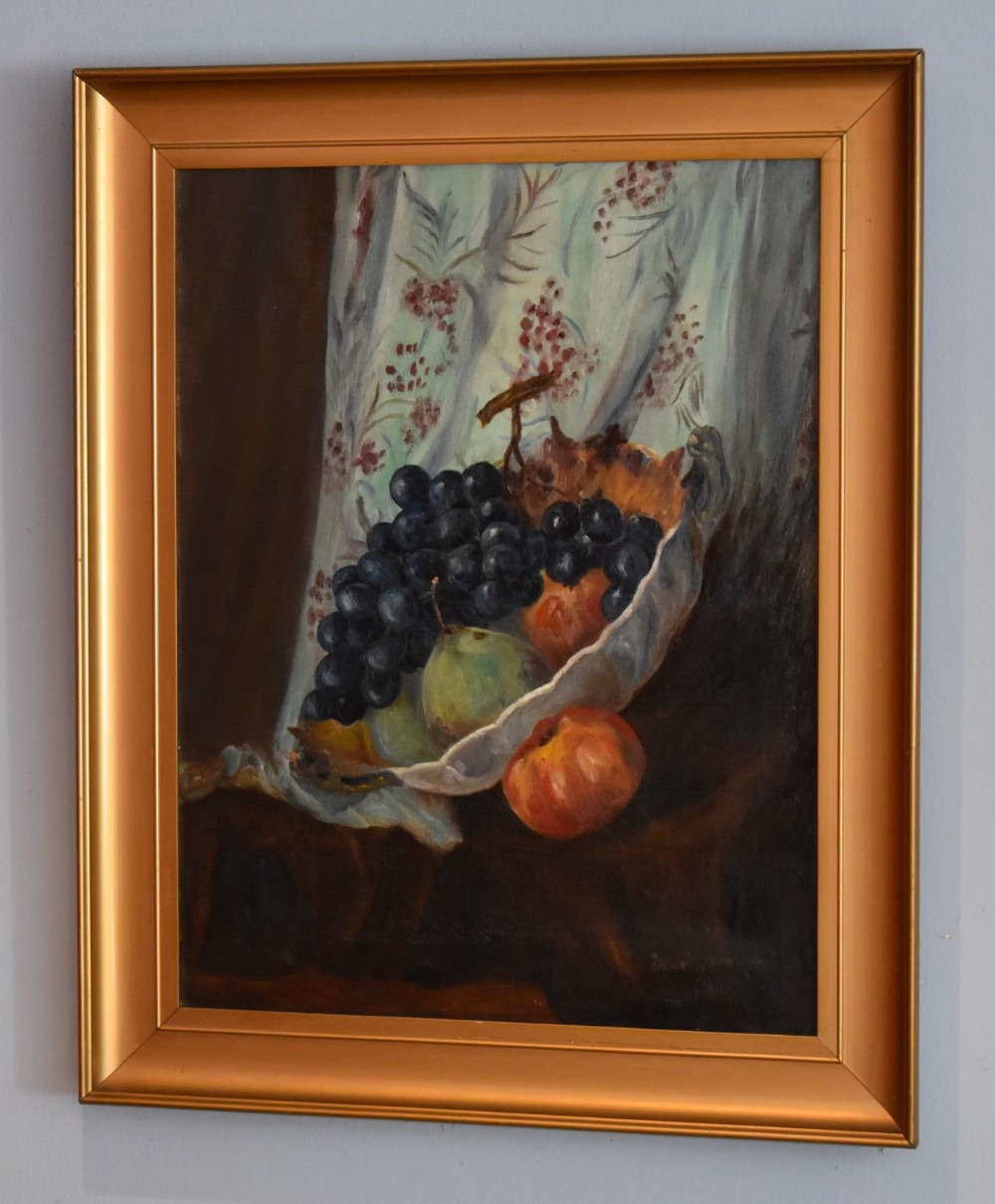 deco period still life oil painting