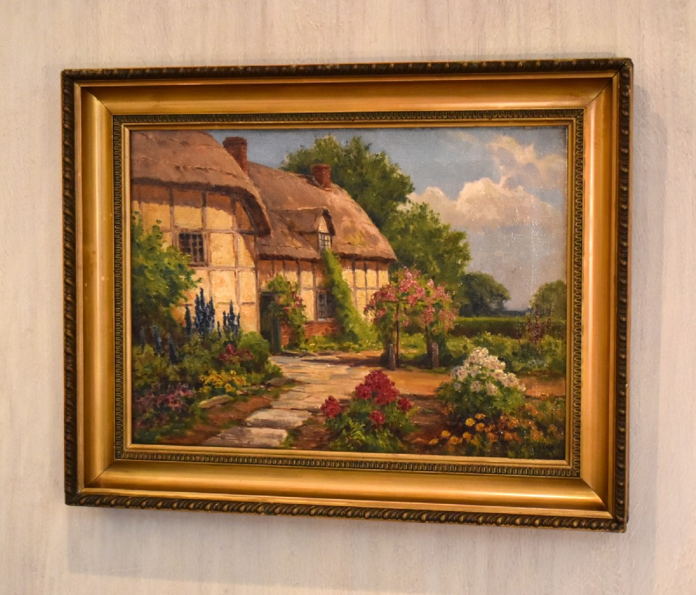 edwardian cottage oil painting by fbamber
