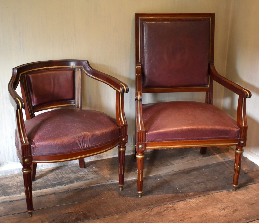 pair of french directoire leather armchairs