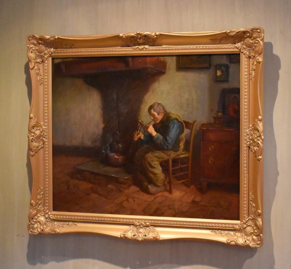 fine scottish interior scene oil painting by johnpdownie