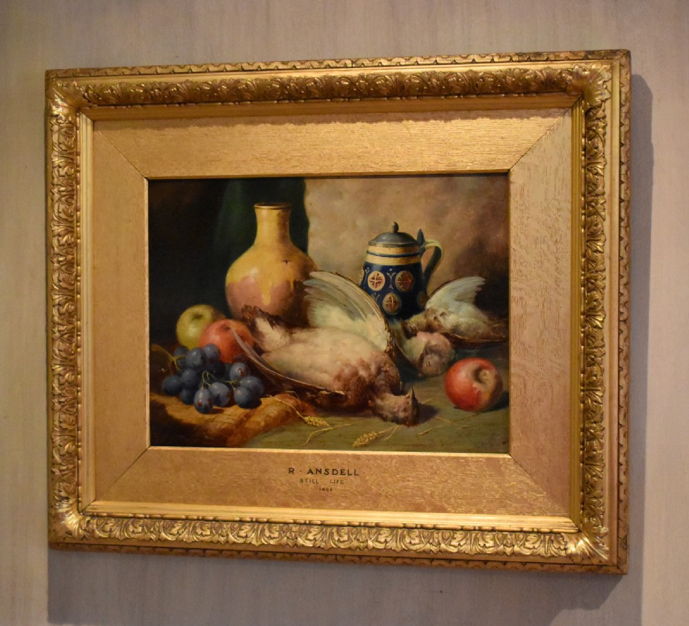 superb still life oil painting by richard ansdell ra