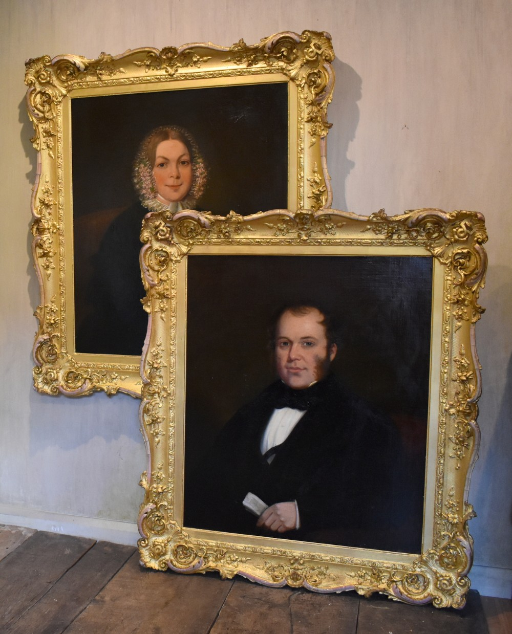 large pair of victorian oil portraits